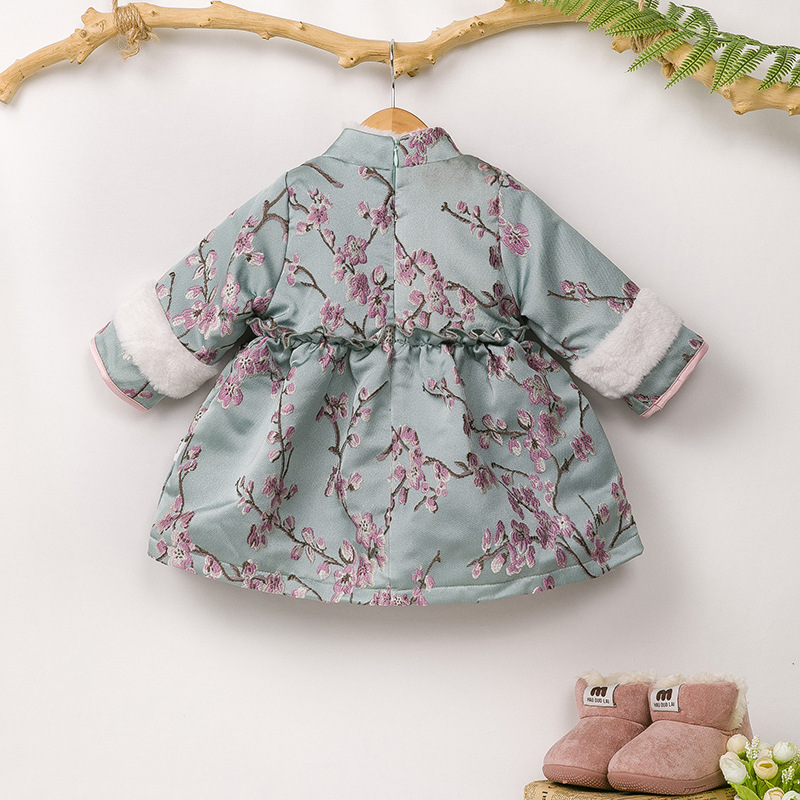 2020 Childrenswear New Style Cheongsam Chinese Clothing Autumn And Winter New Year-Online Celebrity Girls Brushed And Thick Prin
