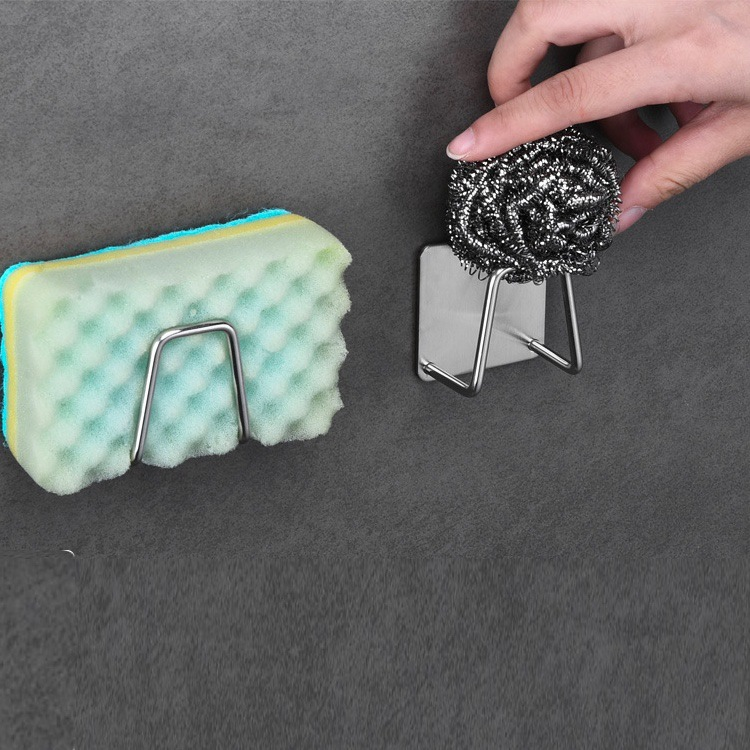 1PCS Wall Mounted Kitchen Stainless Steel Sink Sponges Soap Drainage Storage Rack Bathroom Hook Holder Sundries Organizers D40 in Hooks Rails from Home Garden
