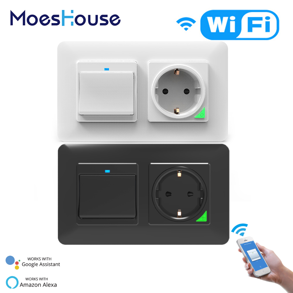 2 Gang Smart WiFi Push Button Switch Socket DE EU  Detachable Horizontal Smart Life Tuya Work With Alexa Google Home Black