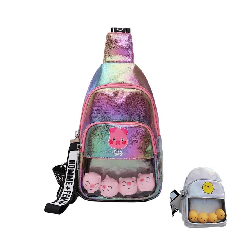2019 INS Fashion Girl Waist Bag Shinny PU Adjustable Chest Bag Kawaii Coin Purse Bag Cartoon Mulitifuction Mobile Bags For Women