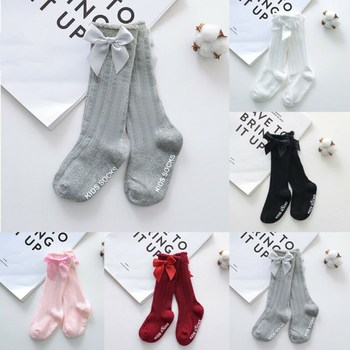 New Toddlers Summer Clothing Girls Big Bow Knee High Long Soft Cotton Lace Socks Baby Girl Bowknot Cotton Socks Kids image