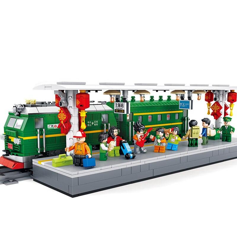 PANLOS City Old-fashioned Train Track Railway Rails Sets Model Building Blocks Sets Bricks Kid Toy Compatible Children's Friends