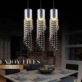 5W Led Lamp Modern Crystal Pendant Light Kitchen Dining Room Shop Silver Metal 3 Heads Home Rope Lighting Fixtures 220V