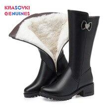Krasovki Genuines Wool Women Snow Boots Warm Fur Shoes Plush High Platform for Genuine Leather Winter