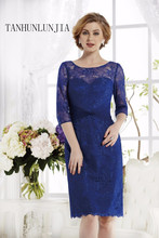 2020 Elegant Royal Blue Lace Half Sleeve Plus Size Formal Party Dress Mother of the Bride Dresses new arrivals robe de soiree(China)