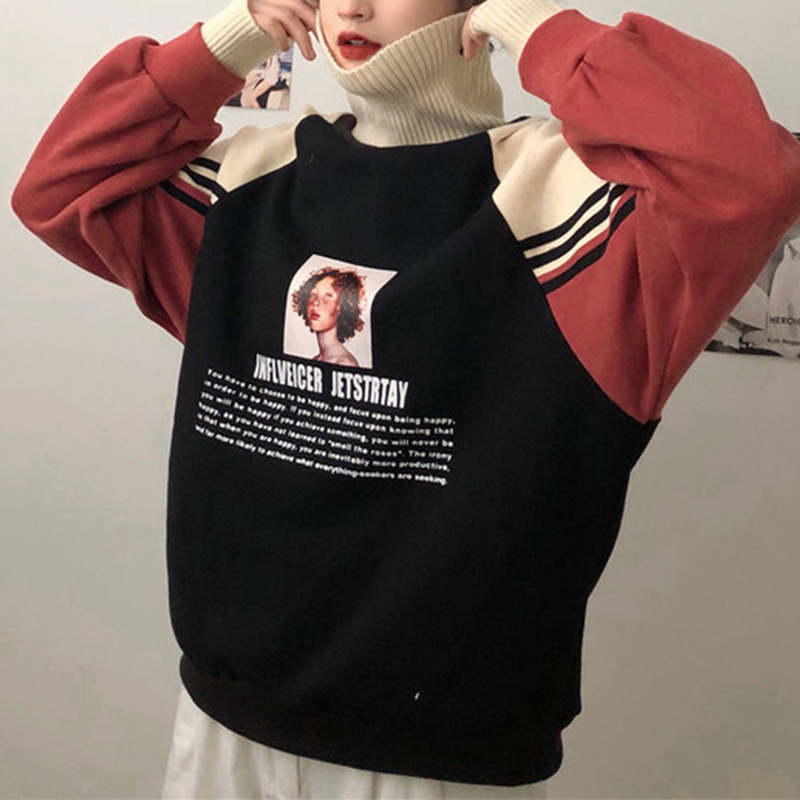 Women's Hoodies Turtleneck Oversize Sweatshirt Thicker Velvet Harajuku Patchwork Printed