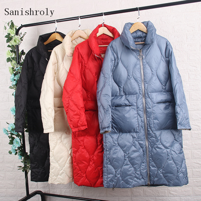 Sanishroly Women Long   Coat   Autumn Winter White Duck   Down   Jacket Female Long Sleeve   Down     Coat   Parka Outerwear Tops Plus Size S703