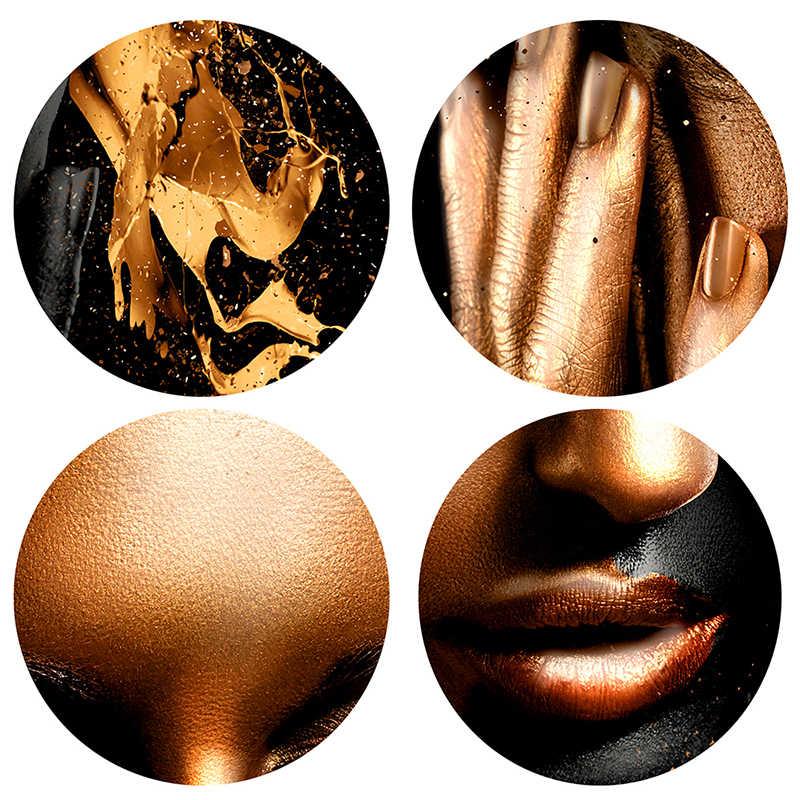 Oro Nero Nudo Arte Africana Donna Pittura a Olio su Tela di Canapa Poster E Stampe Scandinavo Picture Parete per Soggiorno No telaio