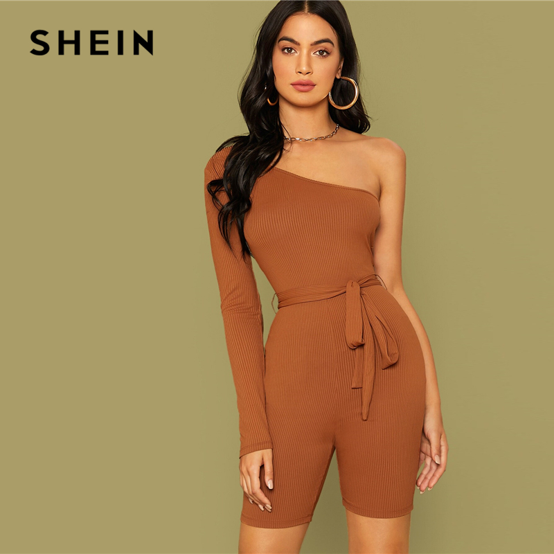 SHEIN Brown One Shoulder Rib-knit Belted Cycling Romper Women Playsuit Autumn Solid Mid Waist Skinny Party Sexy Playsuits