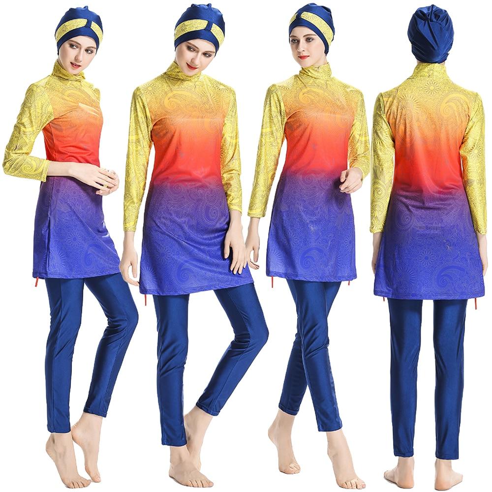 Muslim Women Full Cover Swimwear Islamic Modest Swimsuit Burkini Swim Beachwear