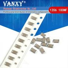 100pcs 100NF X7R Errore di 10% 50V 0.1UF 104 1206 smd condensatore