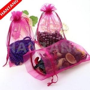 Image 2 - Bolsas de Organza dibujables para joyería, bolsitas de regalo de 7x9, 9x12, 10x15, 13x18, 17x23cm, para boda bolsita de Organza/Comunión, Deco 5z, 100 Uds.