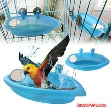 Bird Perch Shower Pet Bird Bath Cage Basin Parrot Bath Basin Parrot Shower Supplies With Mirror Food Bowl Birds Accessories 2