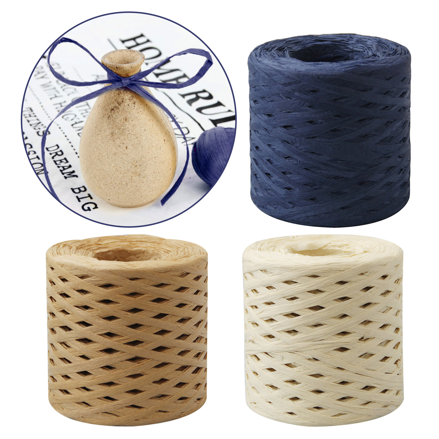 Behogar 1 Roll 200M Raffia Paper Ribbons Packing Twine Rope For Christmas Gift Box Wrapping Package DIY Crafts Party Decorations