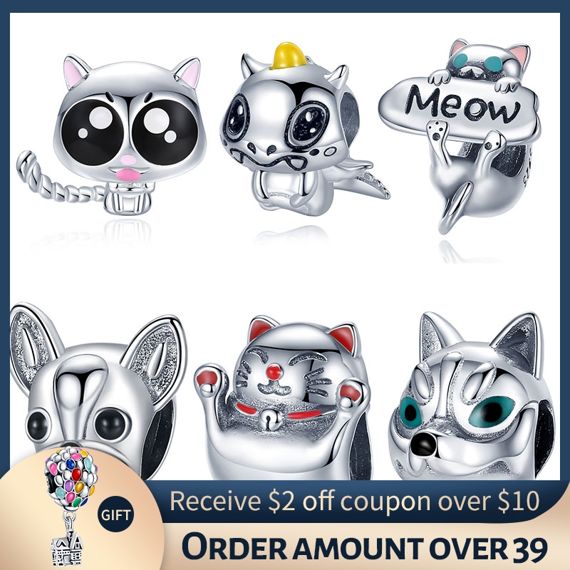 Pandach  Authentic 925 Sterling Silver Cute Cat Kitty Animal Beads Charm for Original Pandora Bracelet Bangle Girl Gifts CMC208