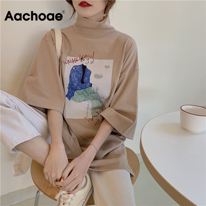 Aachoae Women Turtleneck Print T Shirt Batwing Half Sleeve Casual Loose Tshirt Female Harajuku Cotton Tops Ladies Camiseta Mujer