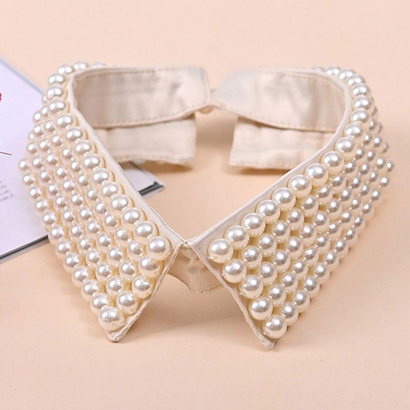 Women Retro Handmade Beading Faux Pearls Layers Bib Lapel Fake Collar Jewelry Detachable Necklace Choker Cloth Accessory