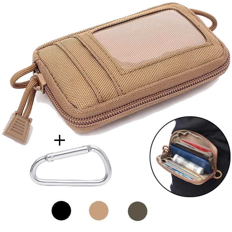 Tactical Card Bag Wallet Molle EDC Pouch Waterproof Key Holder Money Case Pack Military Outdoor Hunting Traveling Waist Bag