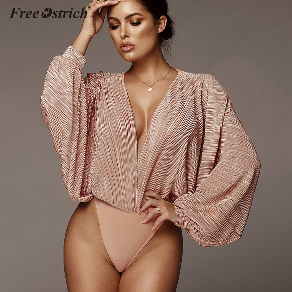 Free Ostrich Deep V-Neck Solid Sexy Bodysuit Women Fashion Long Sleeve Loose Women Rompers Spring Casual Bodysuit Jumpsuit N30
