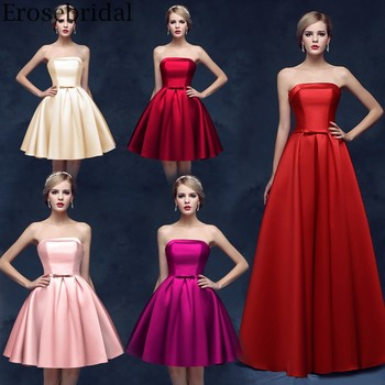 Erosebridal Strapless Satin Evening Dress for Women Simple Design Long Formal Dress Evening Gown Lace Up Back Long/Mid/Short