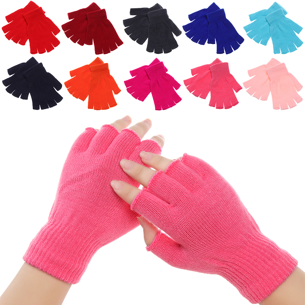 Winter Knitted Fingerless Gloves For Women Men Warm Wrist Short Thick Warm Mittens Keep Finger Warm Stretch Solid Mittens
