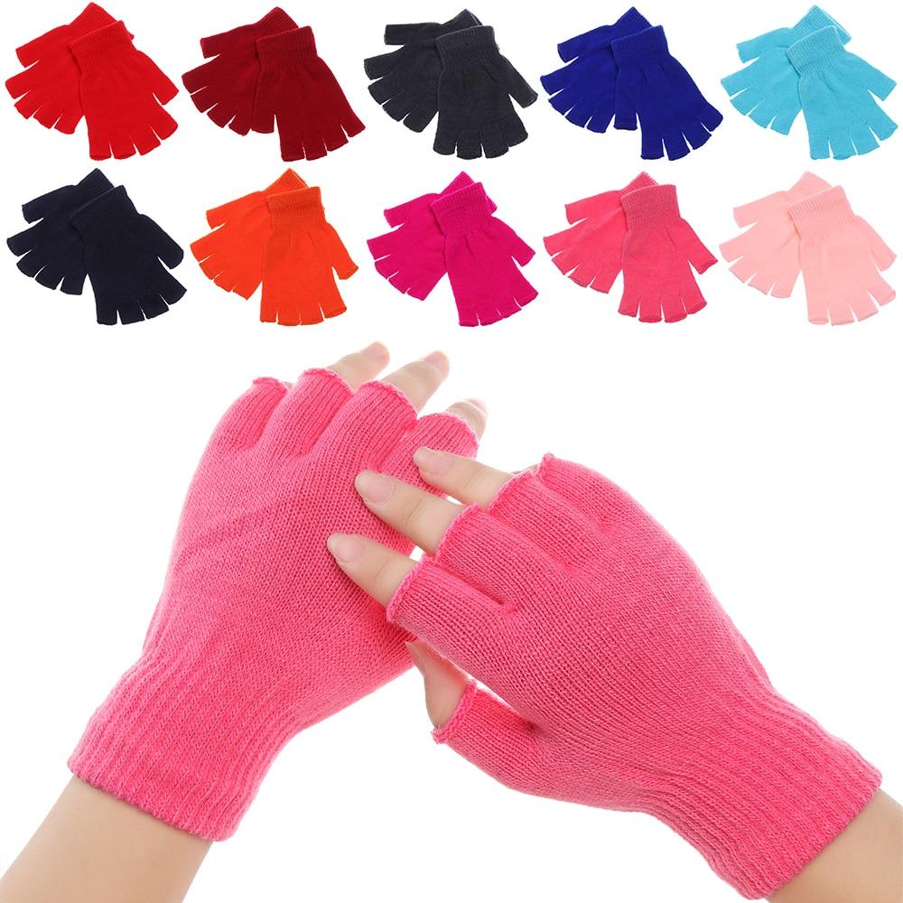 Winter Knitted Fingerless Gloves For Women Men Warm Wrist Short Thick Warm Mittens Keep Finger Warm Stretch Solid Mittens
