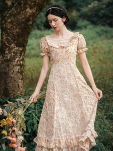 Женское летнее платье, элегантное тонкое корейское милое платье миди с цветочным принтом, кружевное лоскутное повседневное длинное платье ...