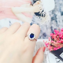 Fashion 925 Sterling Silver Ring Personality Blue Micro-encrusted Zircon Opening Rings Lady Classic wedding