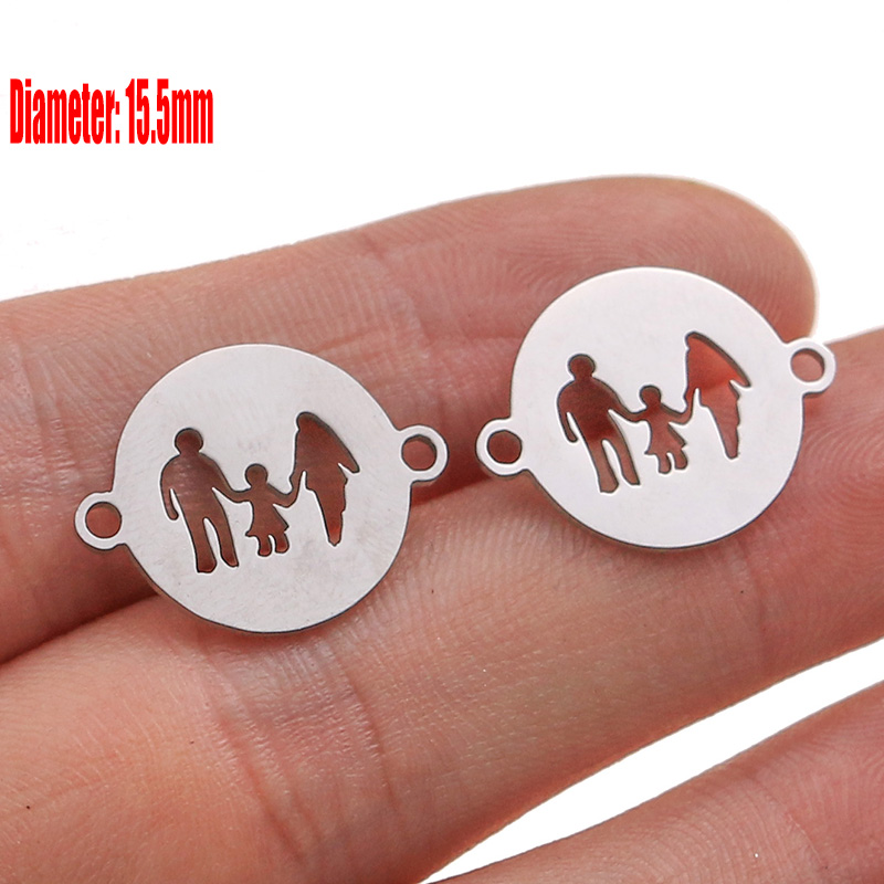 5pcs Family Chain Stainless Steel Pendant Necklace Parents and Children Necklaces Gold/steel Jewelry Gift for Mom Dad New Twice - Цвет: Steel 44