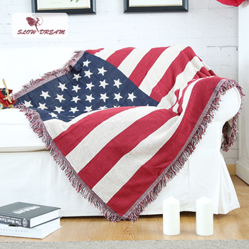 Slowdream American Flag Knitted Blanket 100% Cotton Fabric Bed Cover Adult Bedspread Sofa Cover 1PCS Decorative Home Blanket
