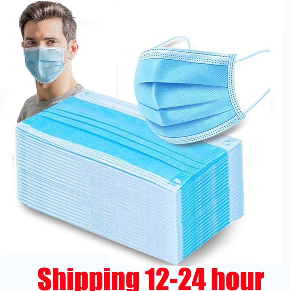 100pcs Mask Face Mask 3 Layers Filter Earloop Nonwoven Antivirus Dust Mask Disposable Safety Breathable Masks 24 Hours Shipping