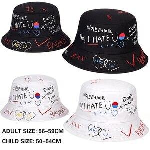 New summer unisex bucket hat foldable outdoor shade beach fisherman hats fashion parent-child hat graffiti printing wild hat(China)