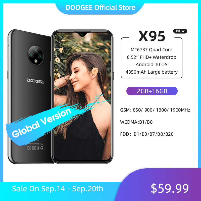 DOOGEE X95 Cellphones 6.52''MTK6737 16GB ROM Dual SIM 13MP Triple Camera 4350mAh SmartPhones Mobile Phone Android 10 OS 4G-LTE(China)