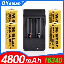 4800mah recarregável 3.7v li-ion 16340 baterias cr123a bateria para led lanterna viagem carregador de parede para 16340 cr123a bateria
