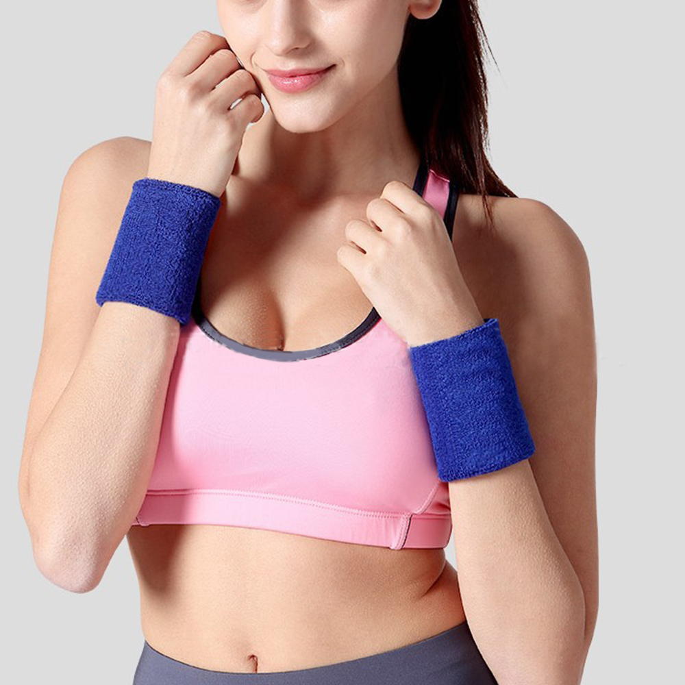 One Pair Unisex Cotton Sports Wrist Sweatbands Brace Hand Band Sweat Terry Cloth Color