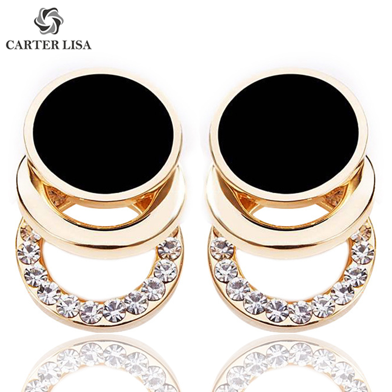 CARTER LISA Gold Plated Round Statement Stud Earrings For Women Ethnic Bohemian Jewelry Party Christmas Gifts