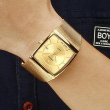 Wwoor Топ Роскошные Золотые Квадратные Часы мужские Ультра тонкие