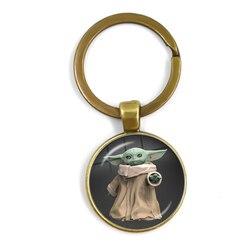 Yoda bebê a bordo pingente chaveiros mandalorian série tema dos desenhos animados bebê mando vidro cabochão chaveiros titular jóias presente