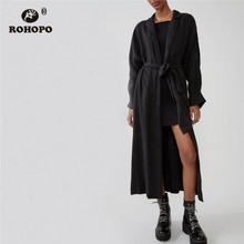 ROHOPO Notched Collar Belted Black Cotton Midi Trench Coat Side Pockets Baggy Solid Autumn Long Outwear Windbreaker #6443