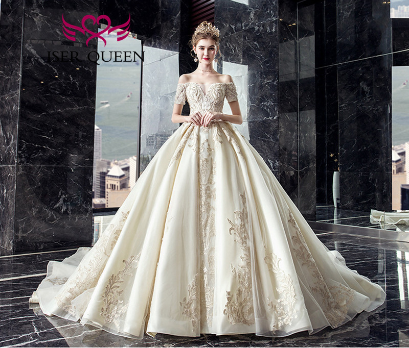 Short Sleeve Europe Style Wedding Gowns Short Sleeve Beading Lace Vintage Wedding Dress Ball Gown Vestidos De Novia 2020 WX0065