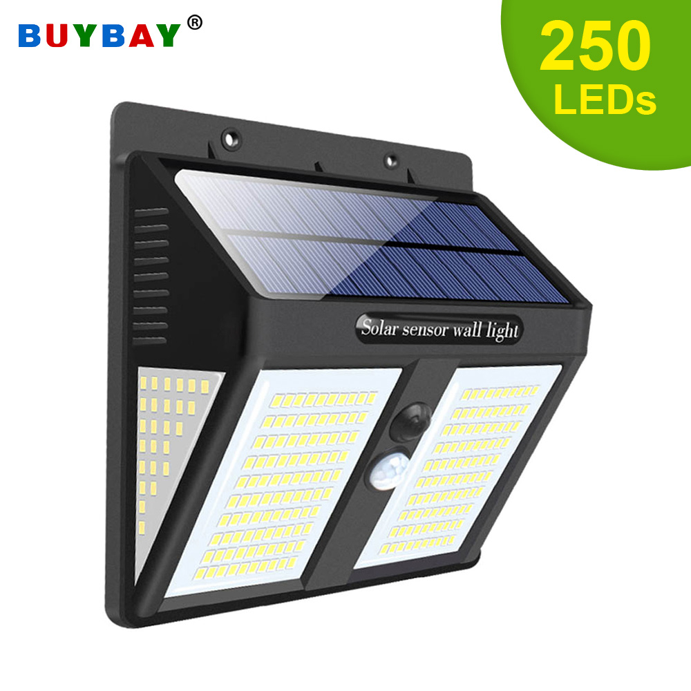 100 146  250 LED Solar Lights Motion Sensor Solar Wall Lamp for Outdoor Garden Path Decoration Waterproof Security Street Light