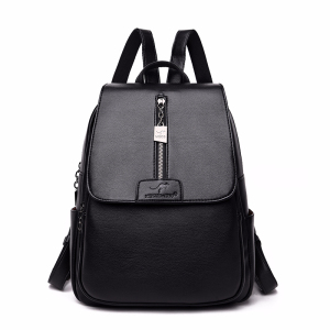 Image 1 - Women Leather Backpacks High Quality Sac A Dos Rucksacks For Girls Vintage Bagpack Solid Ladies Travel Back Pack School Female