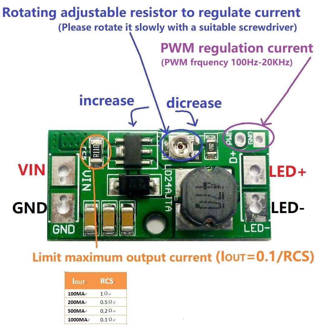 DC 9 в 12 В 18 в 24 в 20 Вт регулируемый светодиодный pwm драйвер контроллера DC DC понижающий преобразователь постоянного тока Интегральные схемы      АлиЭкспресс