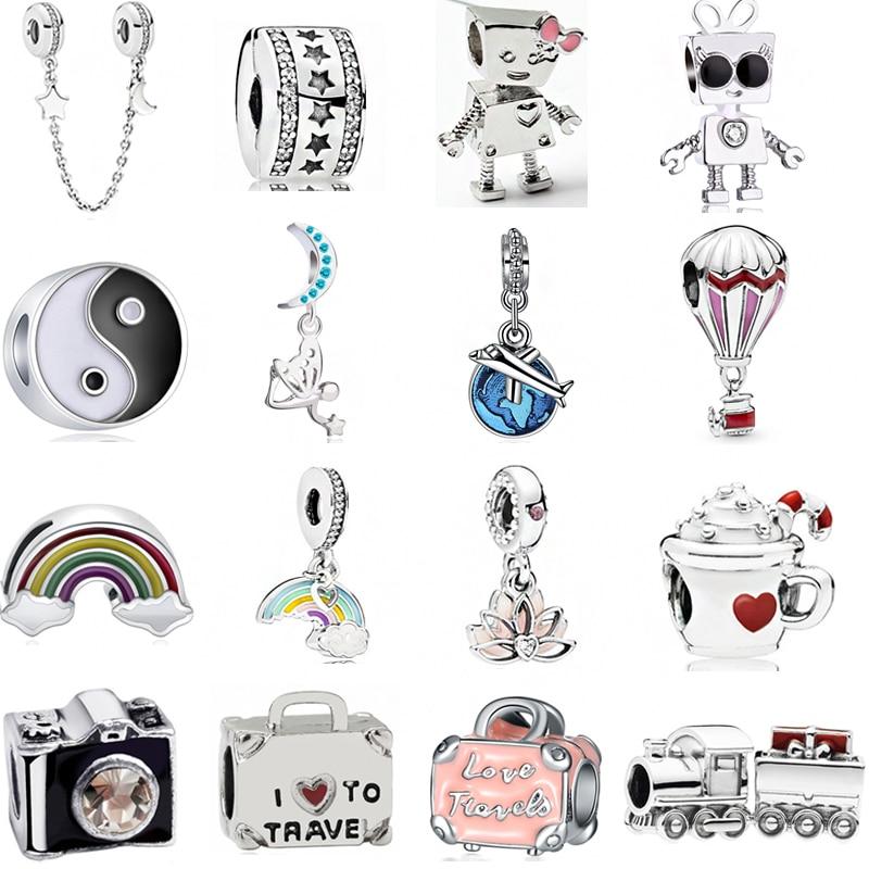 2019 New Original Alloy Bead Holiday Travel Christmas Rainbow Charm Fit Pandora Bracelet Bangle Necklace DIY Women Jewelry Gifts(China)