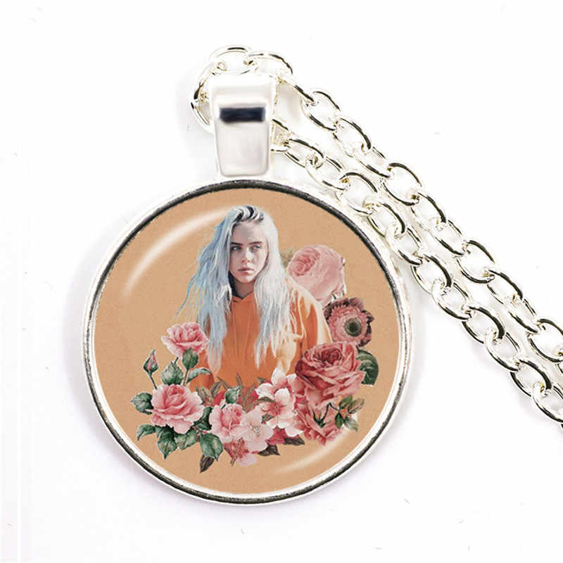 חם בילי Eilish אוהדי שרשרת אופנה הזמר Harajuku הדפסת בעבודת יד זכוכית קרושון תליון פאנק מתכת תכשיטים לנשים מתנה