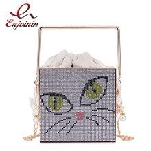 Square Purses Evening-Bag Crossbody-Bag Handbags Designer Metal-Handle Small Women Luxury