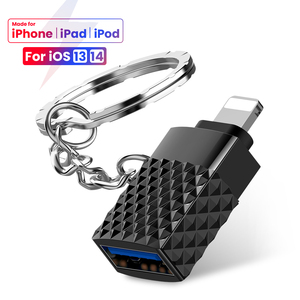 Mini USB 3.0 To Lighting 8 Pin For iPhone OTG Adapter With Key Chain For iOS 13 14 Above system Sync Data OTG Adapter Converter