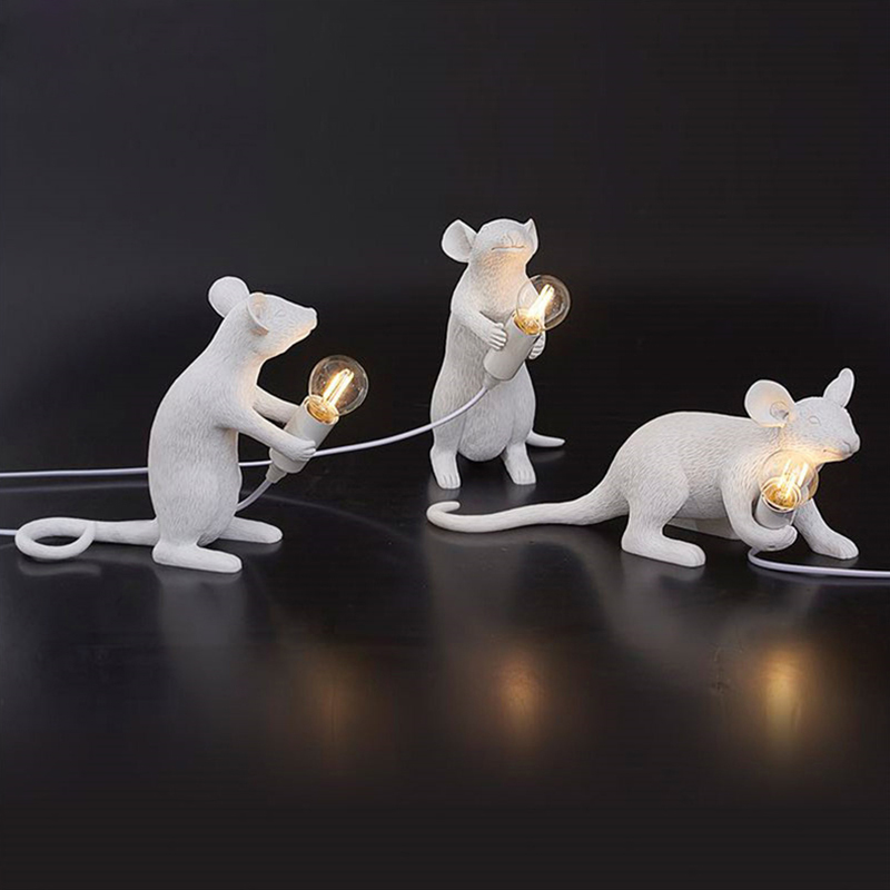 Postmodern Resin Rat Mouse Table Lamp Small Cute LED Night Lights Creative Desk Lamps Bedside Gift Decor Home Decor Desk Lights