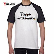 Mens Summer 3D Print T Shirts Happy Halloween Graphic Tees White Cotton T-Shirt Letters Tee Unisex Casual Tops