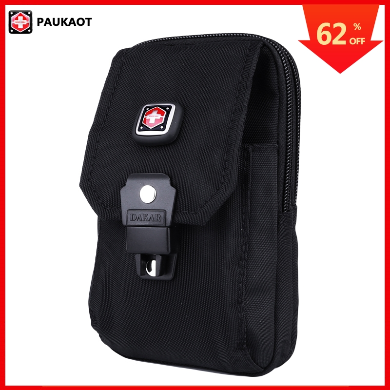 PAUKAOT Men Belt Bag Casual Waist Packs Phone Purse Pouch Travel Fanny Pack Small Bum Hip Bags Black Zipper Pockets